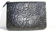 Chanel Leather Camellia Large Pouch Cosmetic Bag