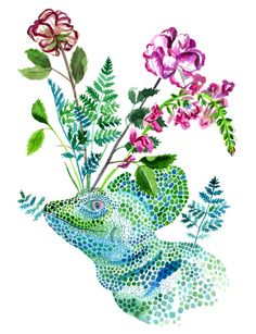 Basilisk Lizard and Flowers by Lisa Hanawalt