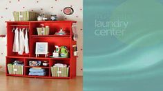 Want to maximize your laundry storage? Tip: Use wire hooks and hanging bins for lint rollers, stain removal sticks and more!