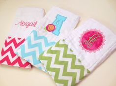 Baby Shower Gift- Set of 3 Chevron Personalized Embroidered Monogram Girl Burp Cloths- Pink, Aqua, Lime Green