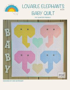 Lovable Elephants Baby Quilt Pattern | Etsy Star Quilts, Mini Quilts, Baby Quilts, Quilt Blocks, Elephant Quilt, Baby Elephant, Mini Quilt Patterns, Block Patterns, Hunters Star Quilt