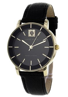 Shop for Anne Klein Women's Stainless Steel Genuine Leather Watch. Get free delivery On EVERYTHING* Overstock - Your Online Watches Store! Online Watch Store, Anne Klein, Stainless Steel Case, Jewelry Watches, Quartz, Mineral Water, Accessories, Leather, Black Gold