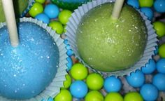 monsters inc cake pops | Monster inc colored cakepops!