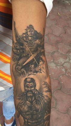 Lord Shiva - Raavana - Custom sleeve of Lord Shiva – Ravana completely healed work by Akash Chandani SKIN M - Hanuman Tattoo, Kali Tattoo, Tattoo Pain, Band Tattoos For Men, Tattoos For Guys, Unique Tattoos, Cool Tattoos, Game Tattoos, Mahadev Tattoo