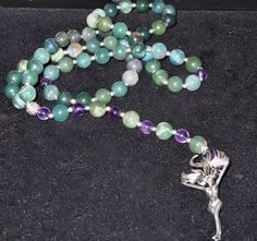 Rosary.Moss agate and Amethyst