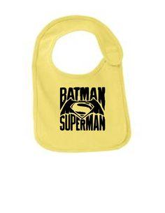 Distressed Batman Superman Bib
