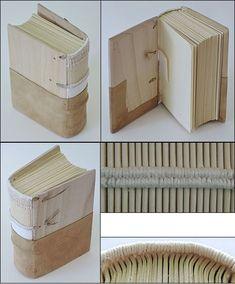 Medieval binding cut-away model Bookbinding Tools, Bookbinding Tutorial, Handmade Journals, Handmade Books, Handmade Rugs, Handmade Crafts, Leather Bound Books, Leather Book Binding, Book Repair