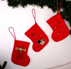 Christmas Ornament Stockings Handmade, Red Christmas Stockings, Three Christmas Ornament Stocking Set, Xmas Ornaments Handmade