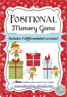 Holiday Positional Memory Game product from Educating-Abroad on TeachersNotebook.com