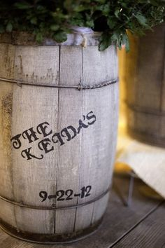 Rustic, Charming vintage wine barrels wedding decor imprinted with the couple's name and wedding date ♥