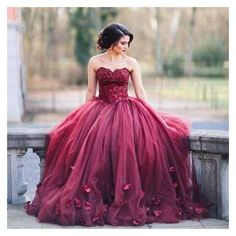 Dark Red Ball Gown Prom Dresses Sweetheart Lace Tulle Petal... ❤ liked on Polyvore featuring dresses, embellished prom dress, purple lace dress, purple dress, plus size lace dress and floor length prom dresses