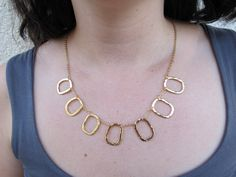 Hammered gold hollow squares necklace Rectangle by OliveliJewelry