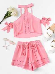 Product name: Lace Insert Halterneck Top & Shorts Set at SHEIN, Category: Two-piece Outfits Girls Fashion Clothes, Tween Fashion, Teen Fashion Outfits, Girly Outfits, Cute Fashion, Pretty Outfits, Girl Fashion, Cute Summer Outfits, Cute Casual Outfits