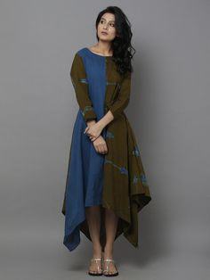 Olive Green Blue Shibori Dyed Cotton Dress - I'd probably prefer this in different colours, maybe a midnight blue and a wine Western Dresses, Indian Dresses, Indian Outfits, Kurta Designs, Blouse Designs, Linen Dresses, Cotton Dresses, Indian Designer Wear, Textiles