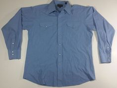 Panhandle Slim Pear Snap Shirt 16.5/35 Large Blue Western Rockabilly Rodeo #Panhandleslim #Western