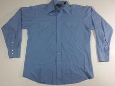 Panhandle Slim Pear Snap Shirt 16.5/35 Large Blue Western Rockabilly Rodeo #Panhandleslim #Western