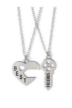 Best Friends Heart & Key Necklace