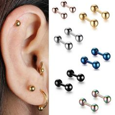 TITAN Barbell MULTI COLOUR Intimpiercing Brust 1,6MM Industrial Zunge Lippe Ohr