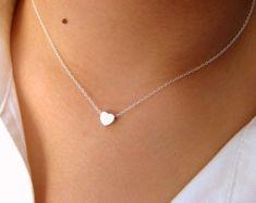 Zierliche Herz-Halskette - wenig Sterlingsilber Kette mit kleinen Herz matt Rhodium plattiert - Kette Sterling-silber - Herz-Halskette