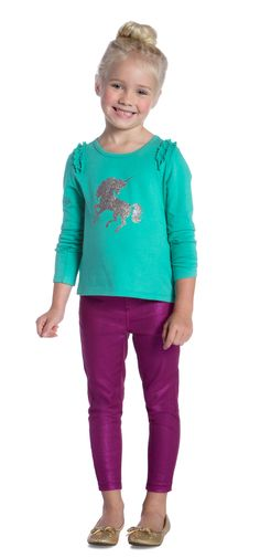 Glam Play Outfit featuring FabKids Unicorn Sparkle Ruffle Tee and Pink Metallic Jegging.