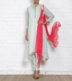 Coral Embroidered Chiffon Anarkali Suit