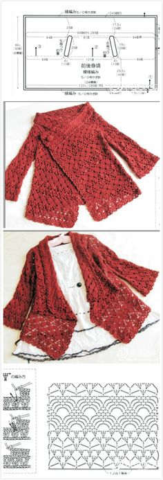 This Pin was discovered by Mel // Nikola Sen Crochet Bolero, Crochet Coat, Crochet Jacket, Crochet Cardigan, Crochet Clothes, Crochet Flower Patterns, Crochet Stitches Patterns, Coat Patterns, Crochet Fashion