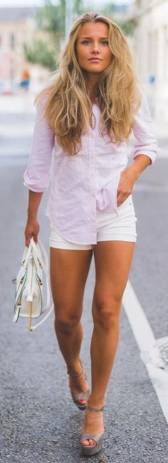 Compra grlfrnd x revolve diane shorts en bad girls en revolv Formal Casual, Spring Fashion 2017, Michael Kors, Modern Fashion, Classy Outfits, White Shorts, White Dress, My Style, How To Wear