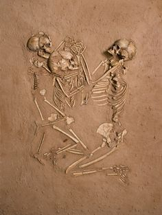 A woman and her 2 children die within 24 hours of each other and are buried on a bed of flowers.. 5000 years later they are found, still holding hands.