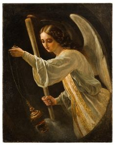 Нефф Т.А.  Портрет Великой княжны Марии Николаевны в виде ангела со свечой и кадилом