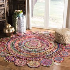 Jute RAG RUG, braided round rug, meditation mat, mandala rug bohemian decor, colourful area rug home decor rug floor rug circle rugs Art Mandala Rug, Doily Rug, Meditation Mat, Braided Rag Rugs, Circle Rug, Rug Shapes, Jute Rug, Jute Mats, Natural Rug