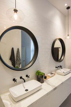 double vanity, black round mirror