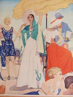 """1930s Beach Pajamas. Beach pajamas, a one-piece jumper with very wide leg pants, belted or fitted high waist and a slightly blousy than most thirties fashion tops, became popular for a day at the beach or a """"restful day at home."""" #1930s fashion"""