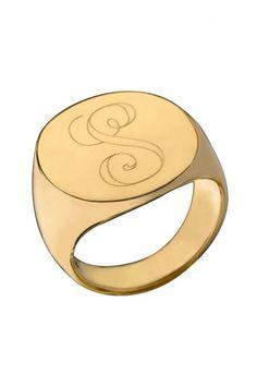 Initial Signet Ring by Jennifer Zeuner, $198.00