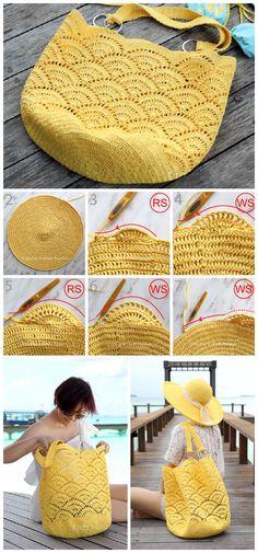 Crochet Beach Bags, Free Crochet Bag, Crochet Tote, Crochet Handbags, Crochet Purses, Crochet Summer, Crochet Shell Stitch, Crocheted Bags, Crochet Granny