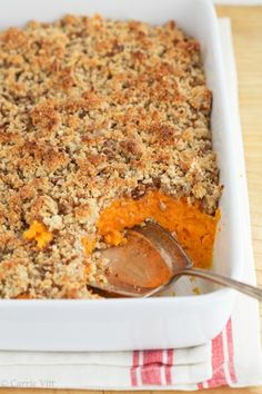 Sweet Potato Casserole via DeliciouslyOrganic.net...I used unbleached all purpose flour in place of the other flours. I added about 3/4 cup of shredded coconut flakes to the topping. I added 1/2 cup whole milk mixed with some of the melted stick of butter.