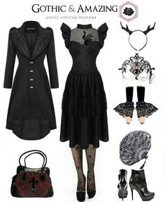Clothes, fan, handbag, mask & gloves: The Gothic Shop, Horns: Restyle, Boots: New Rock Oficial - newrock.com, Created by Alternative.Outfits.Ideas for Gothic and Amazing