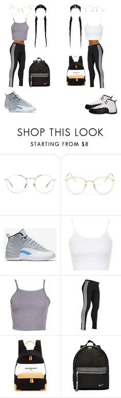 """""""BEST FRIEND OUTFIT"""" by queen1727 ❤ liked on Polyvore featuring Linda Farrow, Ray-Ban, NIKE, Topshop, adidas and Balenciaga"""