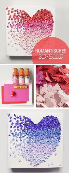DIY instructions for a romantic mural, picture with ombre effect, butterflies, Valentine's Day / romantic crafting inspiration: picture with … - Yersq Sites Valentines Bricolage, Valentine Day Crafts, Fun Crafts, Diy And Crafts, Crafts For Kids, Creative Crafts, Saint Valentin Diy, Image 3d, Art Diy