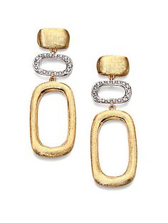 Marco Bicego Murano Diamond & 18K Yellow Gold Contrast Link Drop Earrings