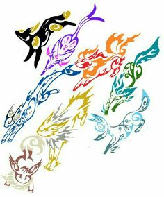 Eevee evolutions, Flareon, Jolteon, Glaceon, Leafeon, Umbreon, Espeon, Vaporeon, cool; Pokémon