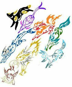 Eevee evolutions, Flareon, Jolteon, Glaceon, Leafeon, Umbreon, Espeon, Vaporeon, cool; Pokémon
