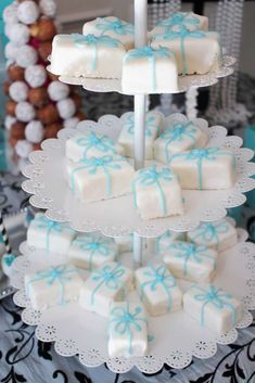 Pretty gift treats at a Tiffany's birthday party! See more party ideas at CatchMyParty.com!