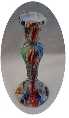 Antique Bohemian End of Day Glass Candle Stick, Shop Rubylane.com