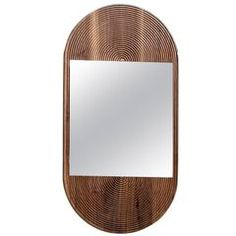 June Mirror, Small in Carved Walnut and Hand-Cut Mirror