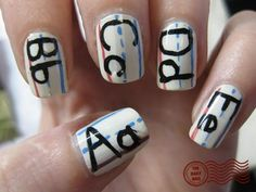 The best part of this manicure from The Daily Nail is that if your ABCs turn out a little shaky, it will look all the more authentic! Use a white base coat and light blue, pink and black polishes with a fine-tipped nail art brush to copy the look. Love Nails, How To Do Nails, Fun Nails, Pretty Nails, Smart Nails, Happy Nails, Crazy Nails, Glam Nails, Glitter Nails