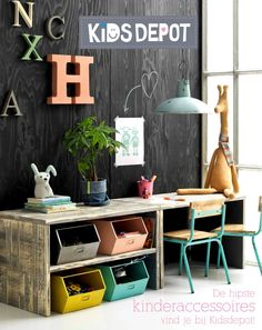 I love the scheme here. The boxes could be made of wood and the desk is adorable.