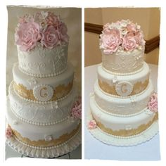 Ivory, gold and blush wedding cake with edible lace, sugar roses  and hydrangea by Corr's Cakes