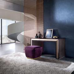 Galileo toilette in Pama and Sycomoro dark frisè TS10 Galileo little pouf PO76 #interiordesign #furniture #madeinitaly #luxury Luxurious Bedrooms, Corner Desk, Relax, Curtains, Contemporary, Living Room, Interior Design, Pouf, Luxury