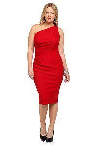 Red One-Shoulder Wiggle Dress