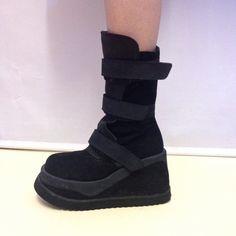 90s Wedge Platform Boots // Cyber Gothic Clubkid size UKsize 4/ 5 zip up